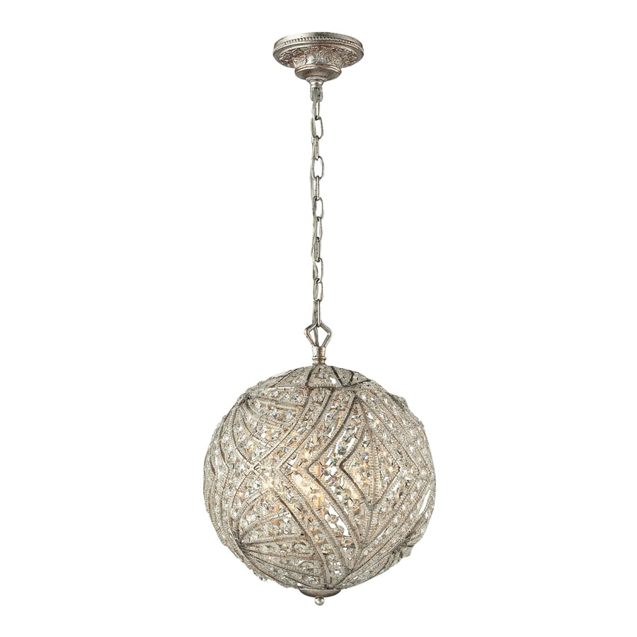 Westmore Lighting Fremont 13-in Sunset Silver Crystal Single Crystal Globe Pendant
