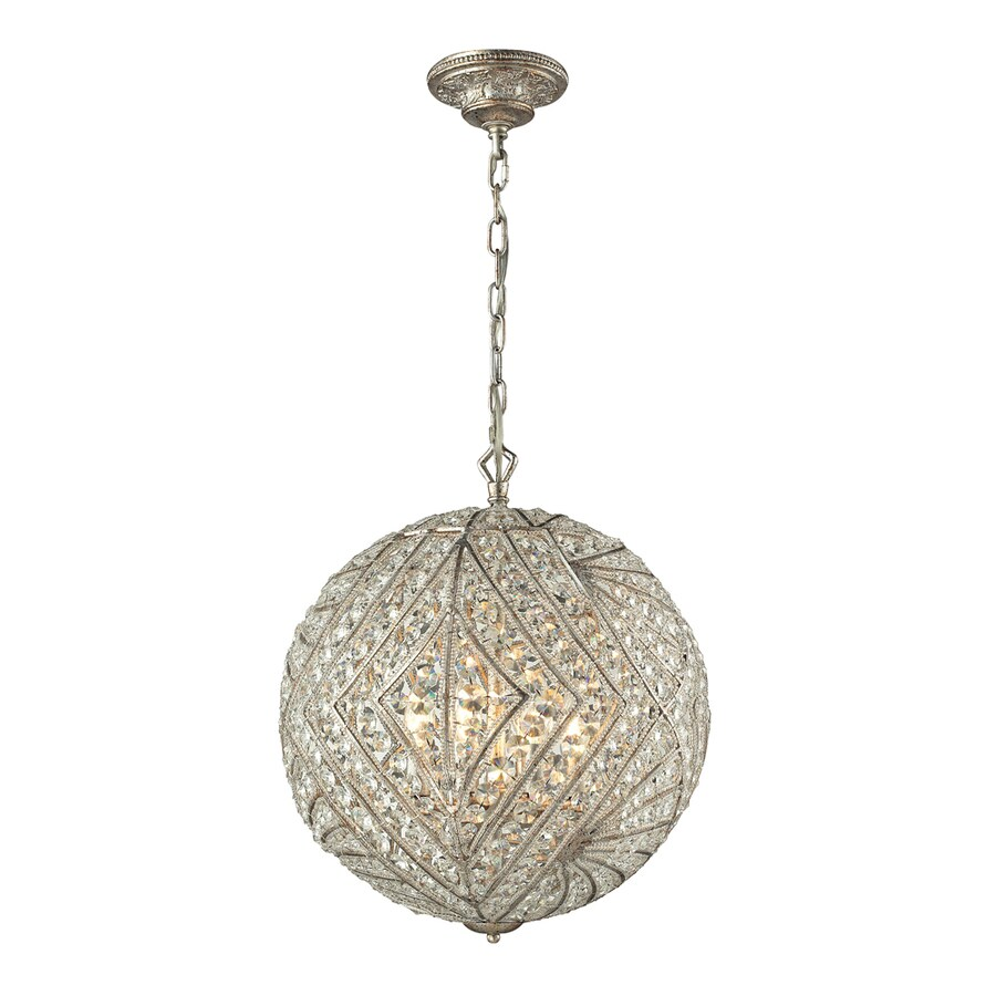 Westmore Lighting Fremont 17-in Sunset Silver Crystal Single Crystal Globe Pendant