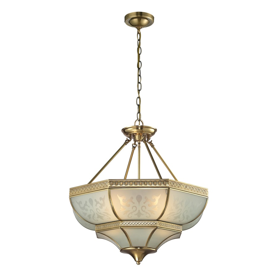 Westmore Lighting Provencale 24-in Brushed Brass Single Tinted Glass Pendant