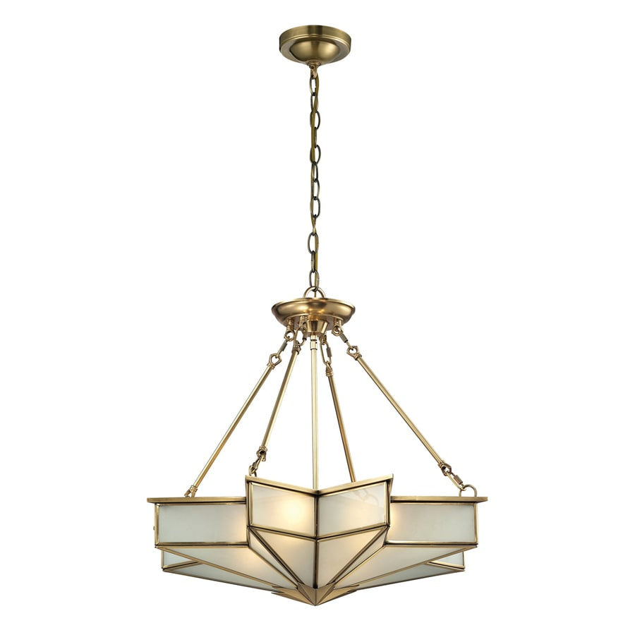 Westmore Lighting Knossos 25-in Brushed Brass Single Tinted Glass Pendant