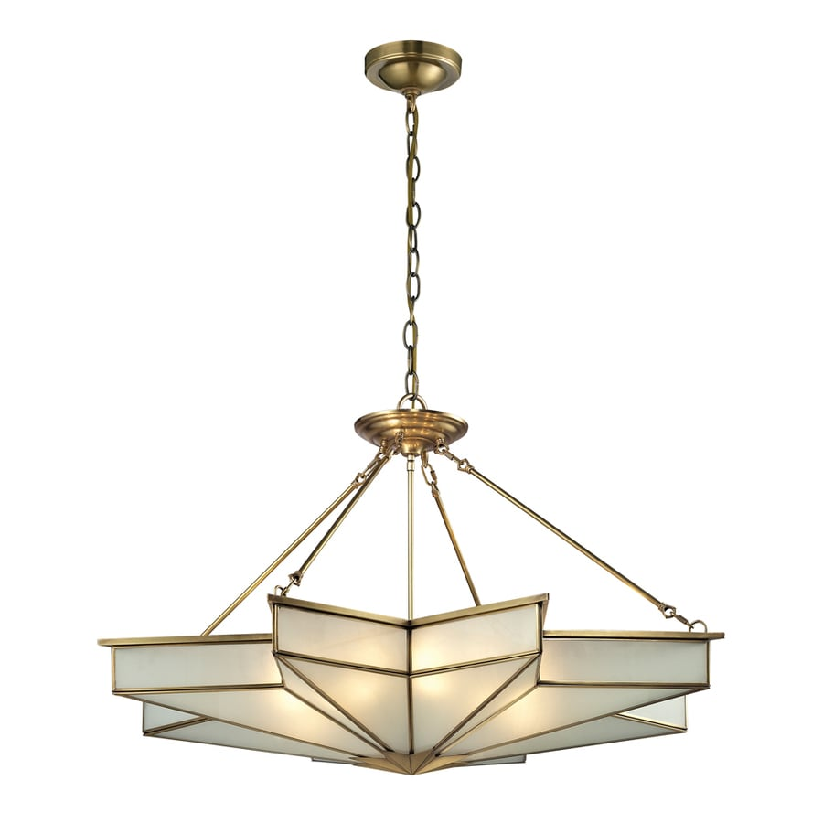 Westmore Lighting Knossos 43-in Brushed Brass Single Tinted Glass Geometric Pendant