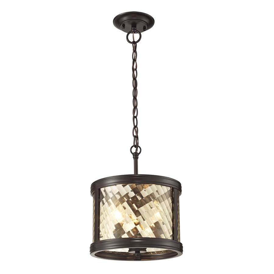 Westmore Lighting Yalding 11-in Oil Rubbed Bronze Mini Clear Glass Cylinder Pendant