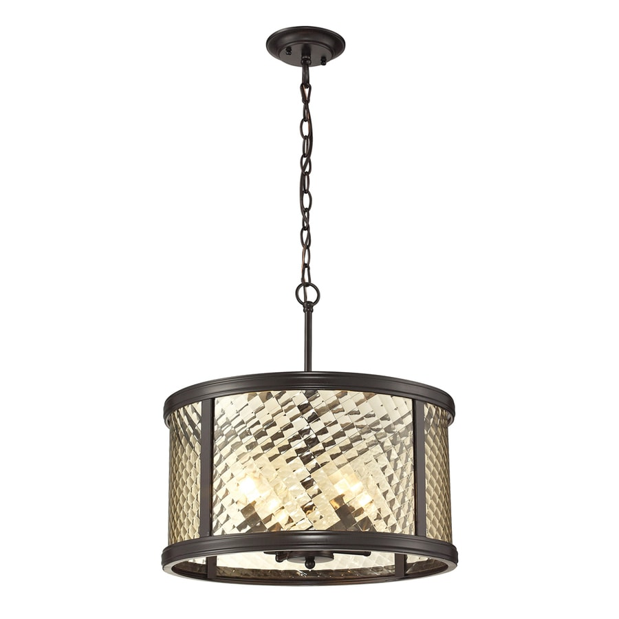 Westmore Lighting Yalding 18-in Oil Rubbed Bronze Single Clear Glass Cylinder Pendant