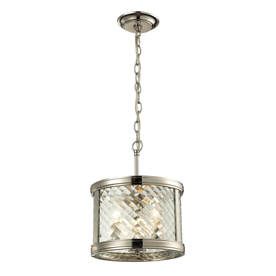 Westmore Lighting Yalding 18-in Polished Nickel Mini Clear Glass Cylinder Pendant