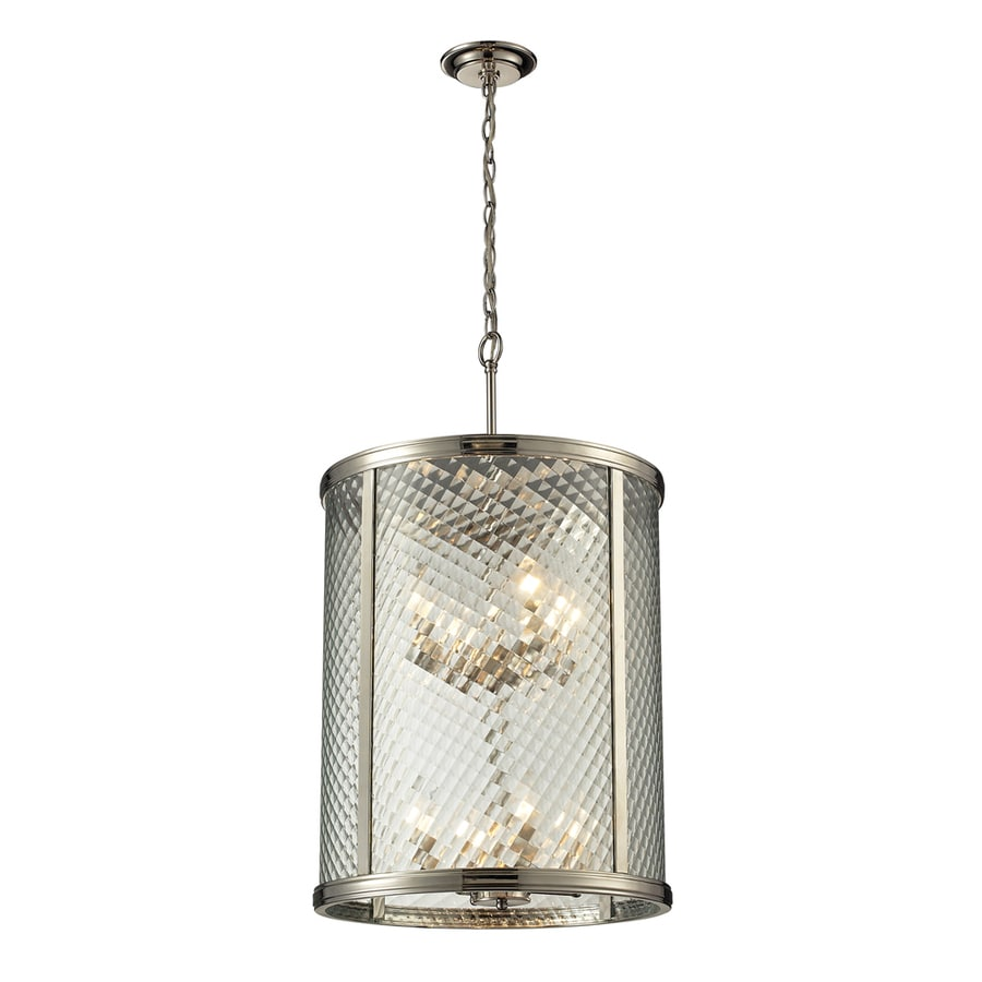 Westmore Lighting Yalding 18-in Polished Nickel Single Clear Glass Cylinder Pendant