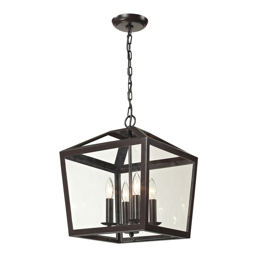 Westmore Lighting Hatfield 14-in Oil Rubbed Bronze Single Clear Glass Lantern Pendant