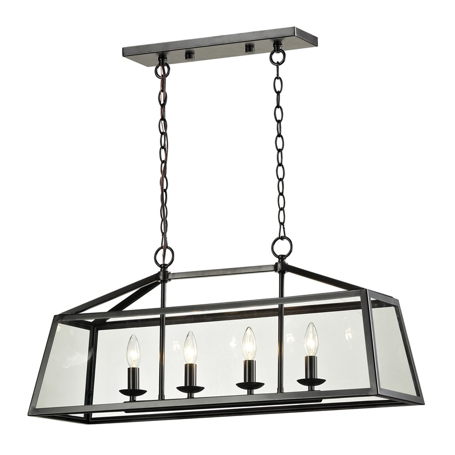 Westmore Lighting Hatfield 32-in Oil Rubbed Bronze Single Clear Glass Pendant