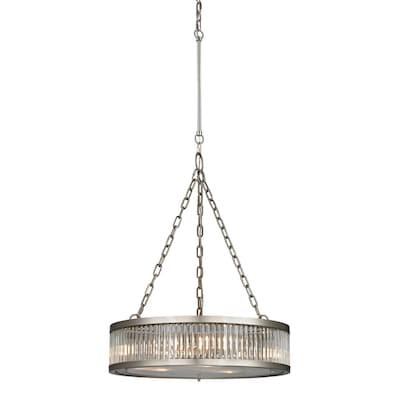 Brushed Nickel Drum Pendant Light