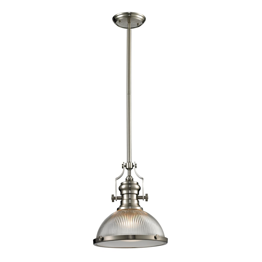 Westmore Lighting Chiserley 13-in Satin Nickel Industrial Single Clear Glass Dome Pendant