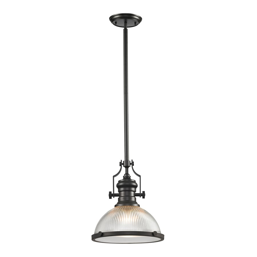 Westmore Lighting Chiserley 13-in Oil Rubbed Bronze Industrial Single Clear Glass Dome Pendant