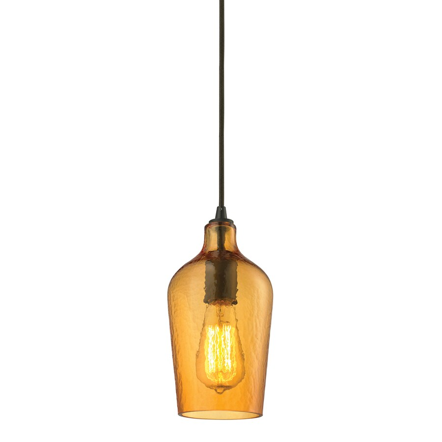 Westmore Lighting Glassmith 5-in Oil Rubbed Bronze Mini Seeded Glass Pendant
