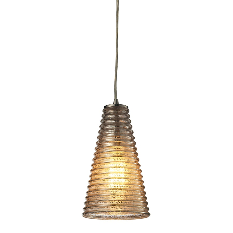 Westmore Lighting Pueblo 5-in Satin Nickel Mini Ribbed Glass Cone Pendant