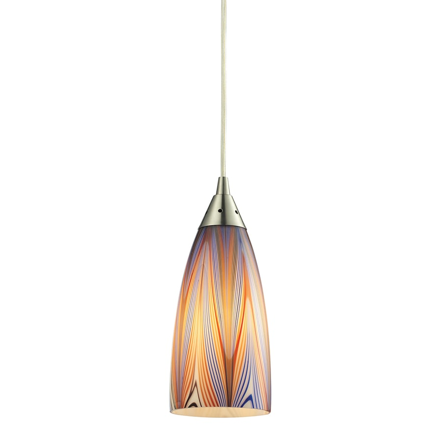 Westmore Lighting Swansea 4-in Satin Nickel Mini Tinted Glass Pendant
