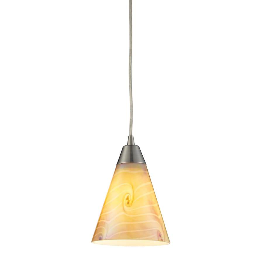 Westmore Lighting Cambria 6-in Satin Nickel Mini Tinted Glass Pendant