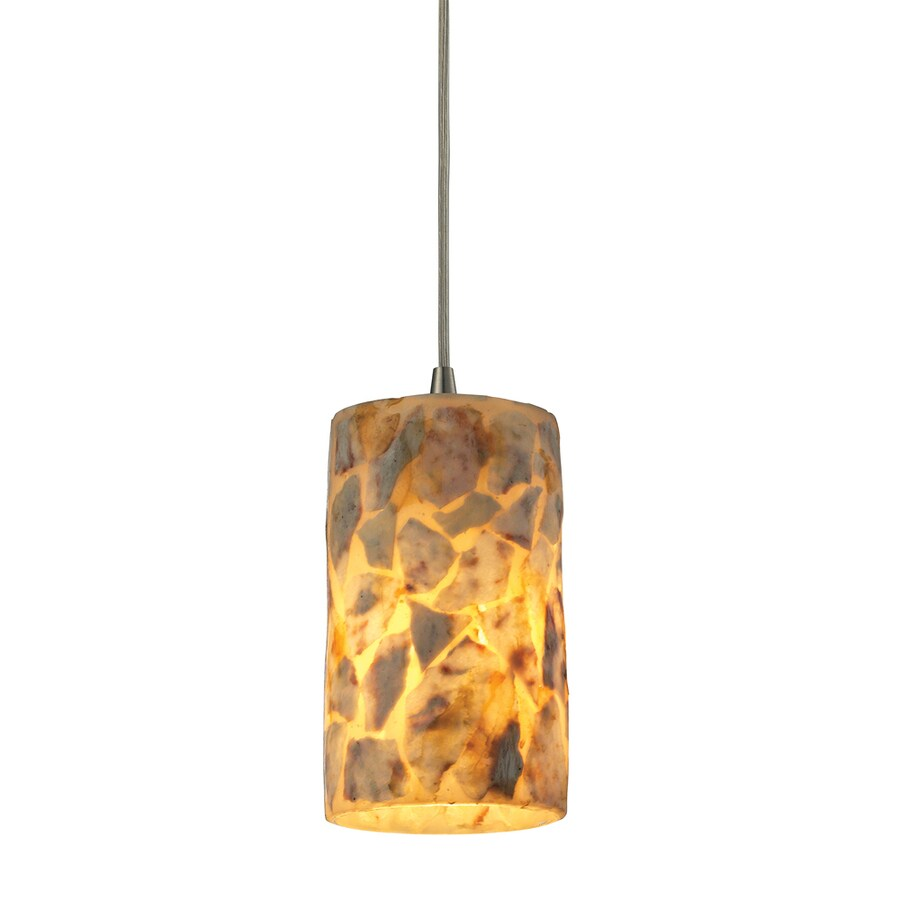 Westmore Lighting Kilnbrick 5-in Satin Nickel Mini Textured Glass Cylinder Pendant