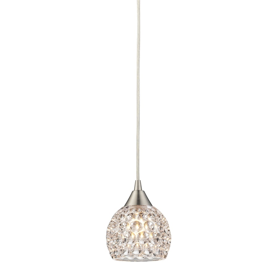 Westmore Lighting Saratoga Springs 5-in Satin Nickel Crystal Mini Crystal Dome Pendant