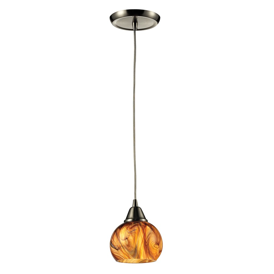 Westmore Lighting D'Oro 6-in Satin Nickel Mini Tinted Glass Pendant