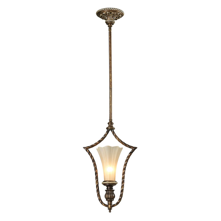Westmore Lighting Catalina 11-in Burnt Bronze and Weathered Gold Leaf Single Tinted Glass Pendant