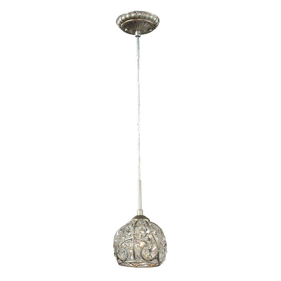 Westmore Lighting Bella 6-in Aged Silver Crystal Mini Crystal Dome Pendant