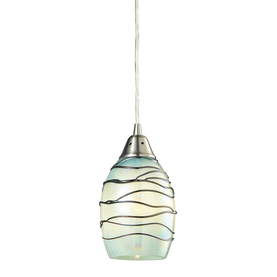 Westmore Lighting Tendril 5-in Satin Nickel Mini Textured Glass Teardrop Pendant