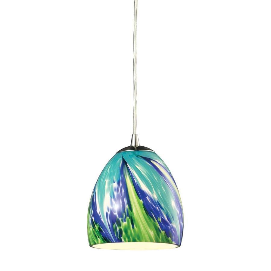 Westmore Lighting Parasol 6-in Satin Nickel Mini Tinted Glass Teardrop Pendant