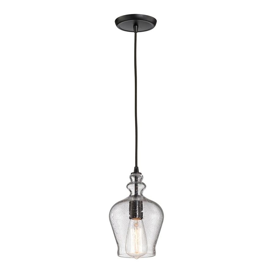 Westmore Lighting Alvingham 6-in Oil Rubbed Bronze Vintage Mini Clear Glass Pendant