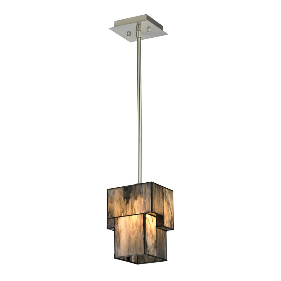 Westmore Lighting Tectonicus 6-in Brushed Nickel Mini Tinted Glass Geometric Pendant