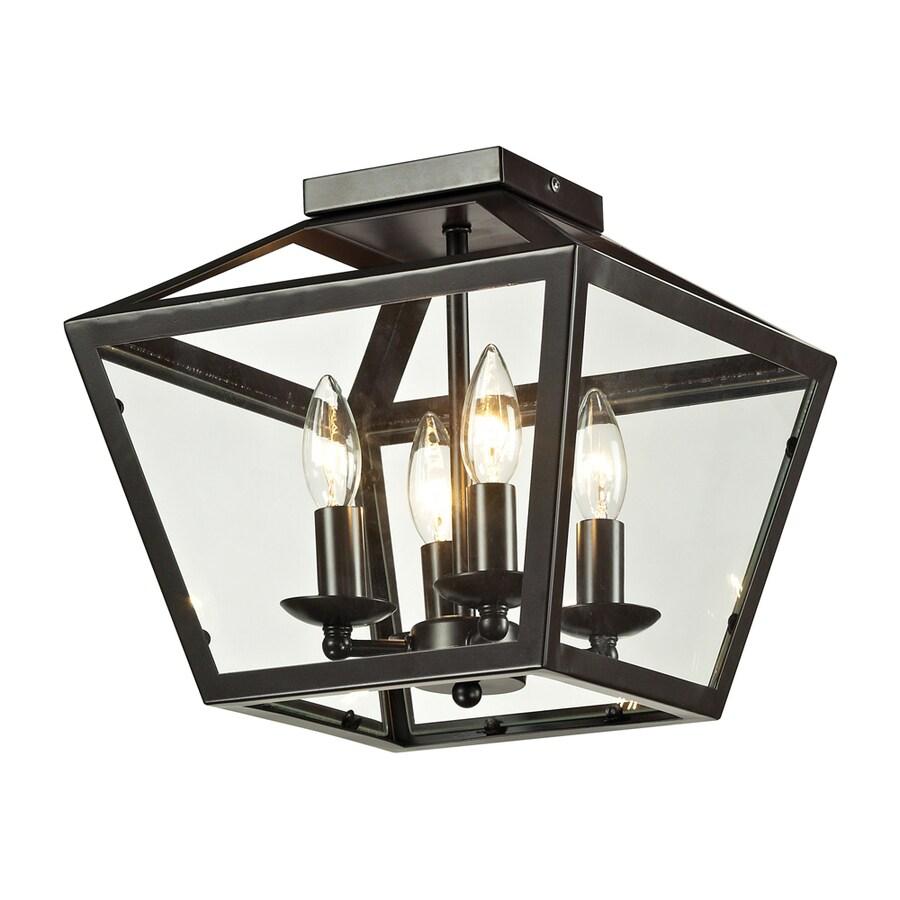 Westmore Lighting Hatfield 18-in W Oil Rubbed Bronze Flush Mount Light