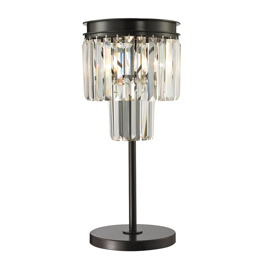 Westmore Lighting Zurich 22.00-in Oil-Rubbed Bronze Indoor Table Lamp with Crystal Shade