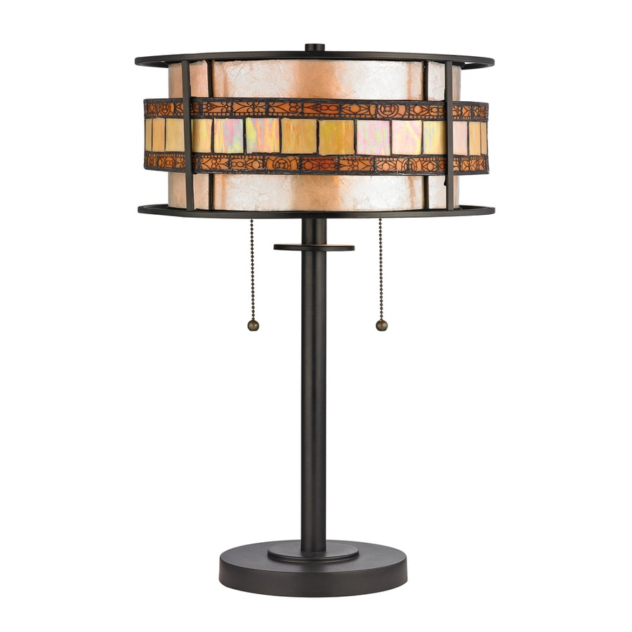 Westmore Lighting Karnos 14.00-in Tiffany Bronze Indoor Table Lamp with Glass Shade