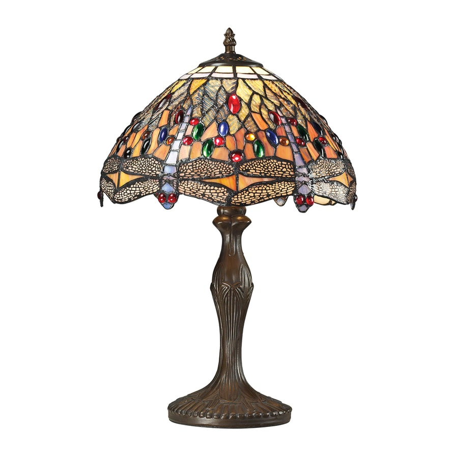 Westmore Lighting Oberon 19.00-in Dark Bronze Integrated Table Lamp with Tiffany-Style Shade