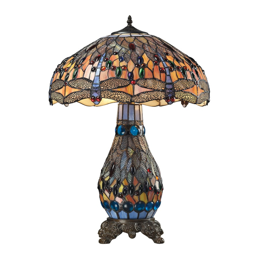 Westmore Lighting Oberon 26.00-in Dark Bronze Standard Table Lamp with Tiffany-Style Shade