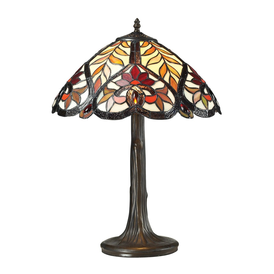 Westmore Lighting Doddington 22.00-in Dark Bronze Integrated Table Lamp with Tiffany-Style Shade