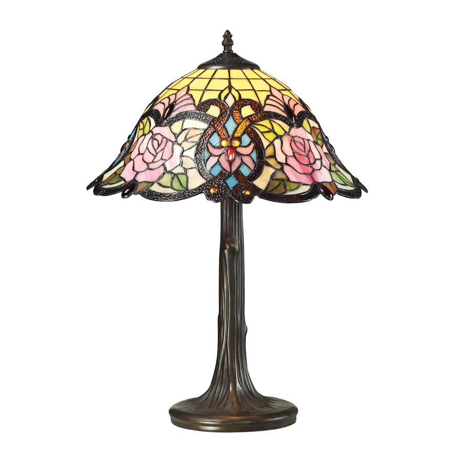 Westmore Lighting Staunton Abbey 22.00-in Dark Bronze Integrated Table Lamp with Tiffany-Style Shade