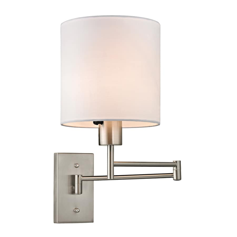 Shop Westmore Lighting Borden 7-in W 1-Light Brushed Nickel Swing Arm Wall Sconce at Lowes.com