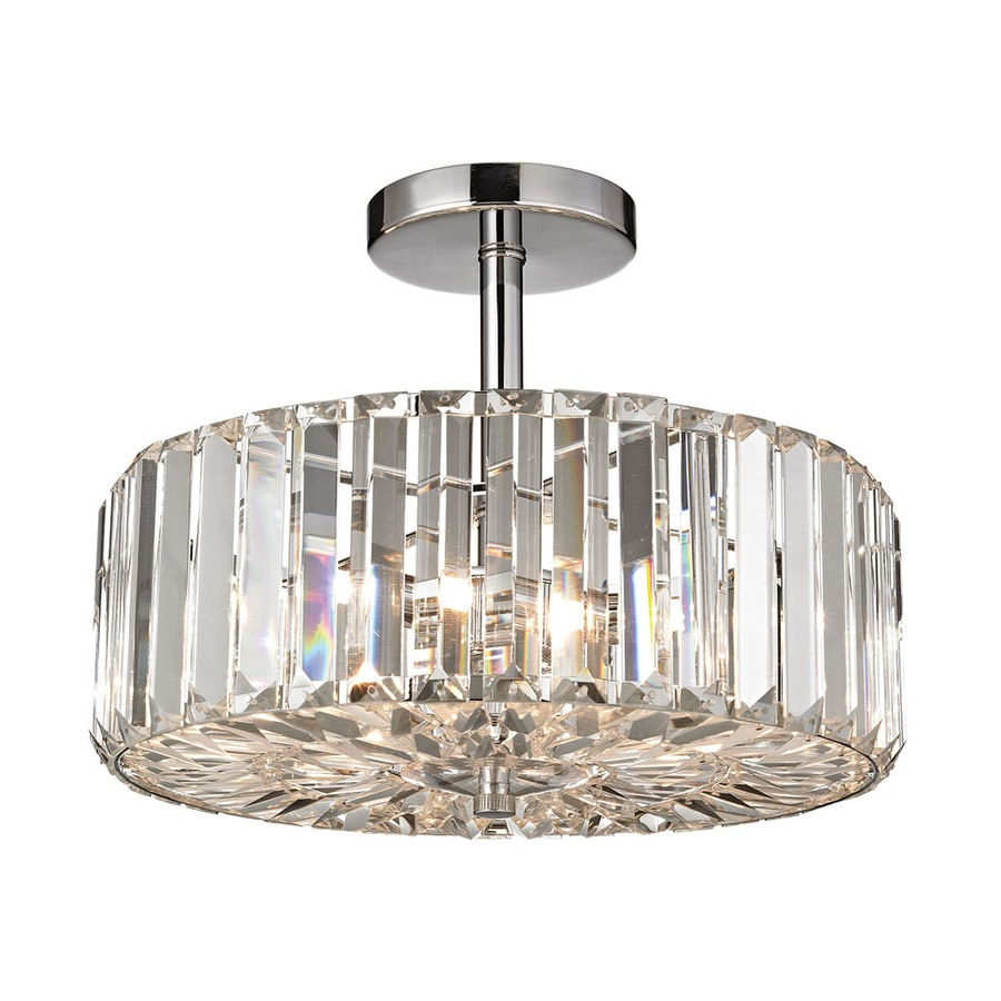 Westmore Lighting Clarion 13-in W Polished Chrome Crystal Semi-Flush Mount Light