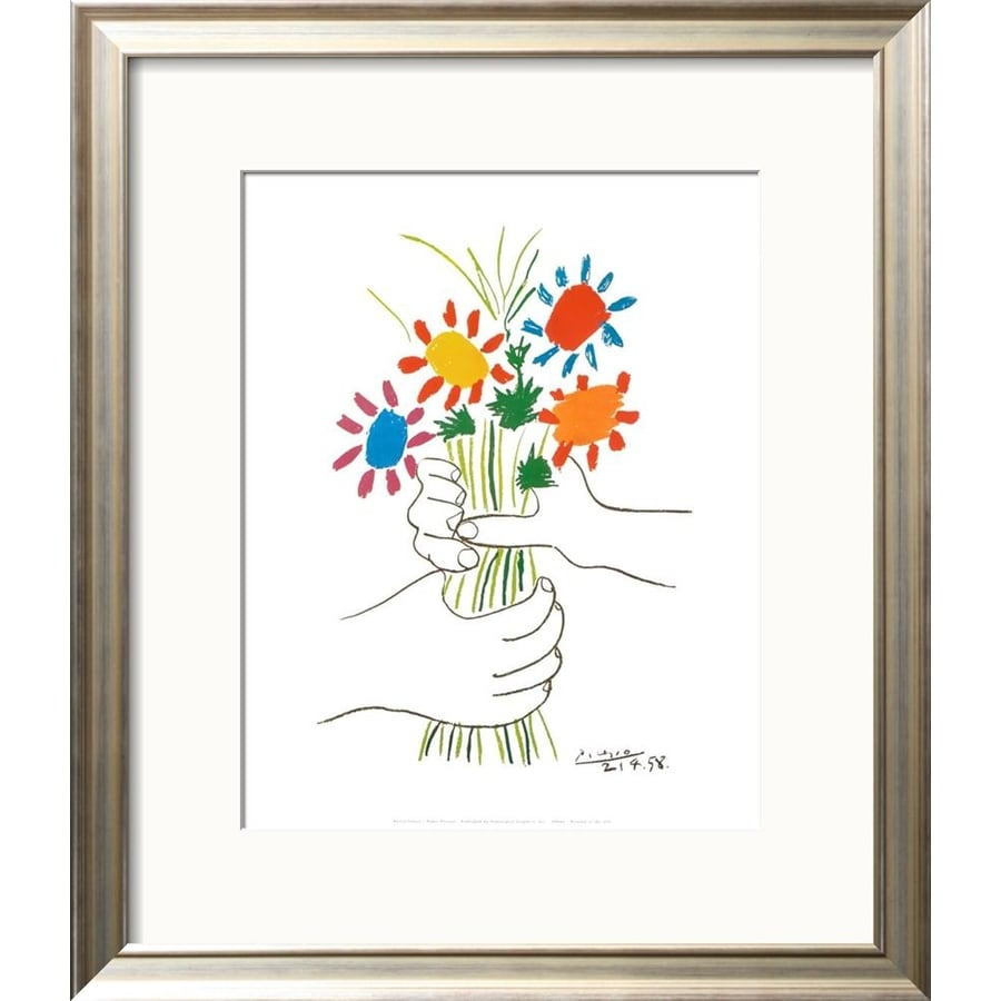 Shop artcom 19 in w x 22 in h framed floral and botanical for Kitchen cabinets lowes with wall art flower