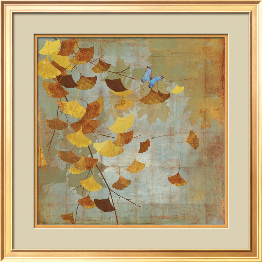 Shop artcom 24 in w x 24 in h framed floral and botanical for Kitchen cabinets lowes with wall art flower