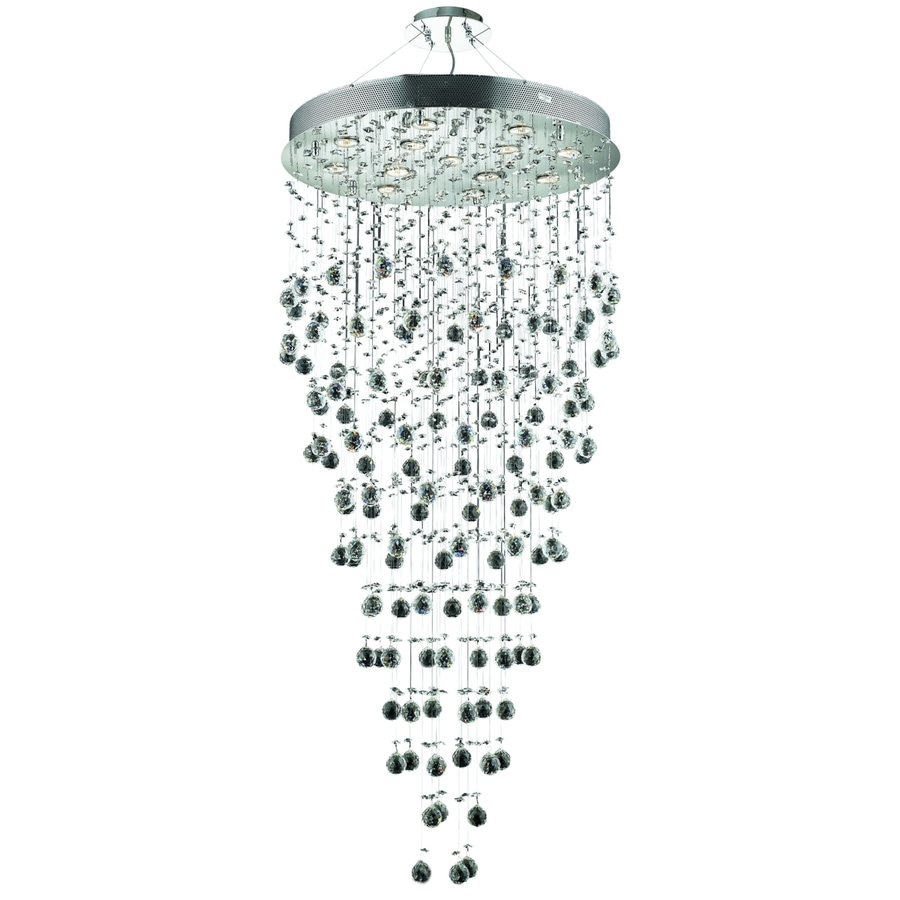 Luminous Lighting Galaxy 28-in 13-Light Chrome Waterfall LED Chandelier
