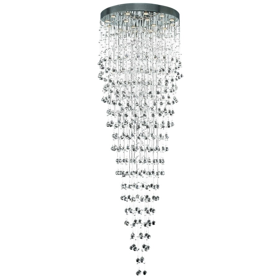 Luminous Lighting Galaxy 32-in 16-Light Chrome Waterfall LED Chandelier