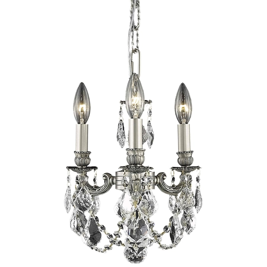 Luminous Lighting Lillie 10-in 3-Light Pewter Candle Mini Chandelier