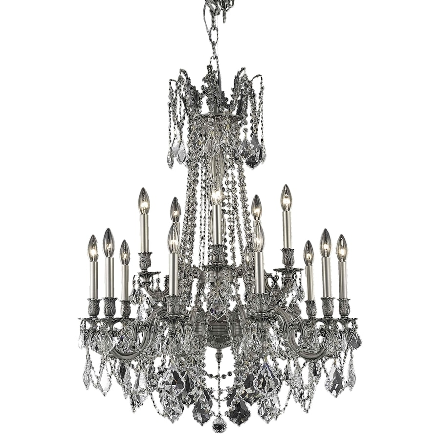 Luminous Lighting Rosalia 28-in 15-Light Pewter Candle Chandelier