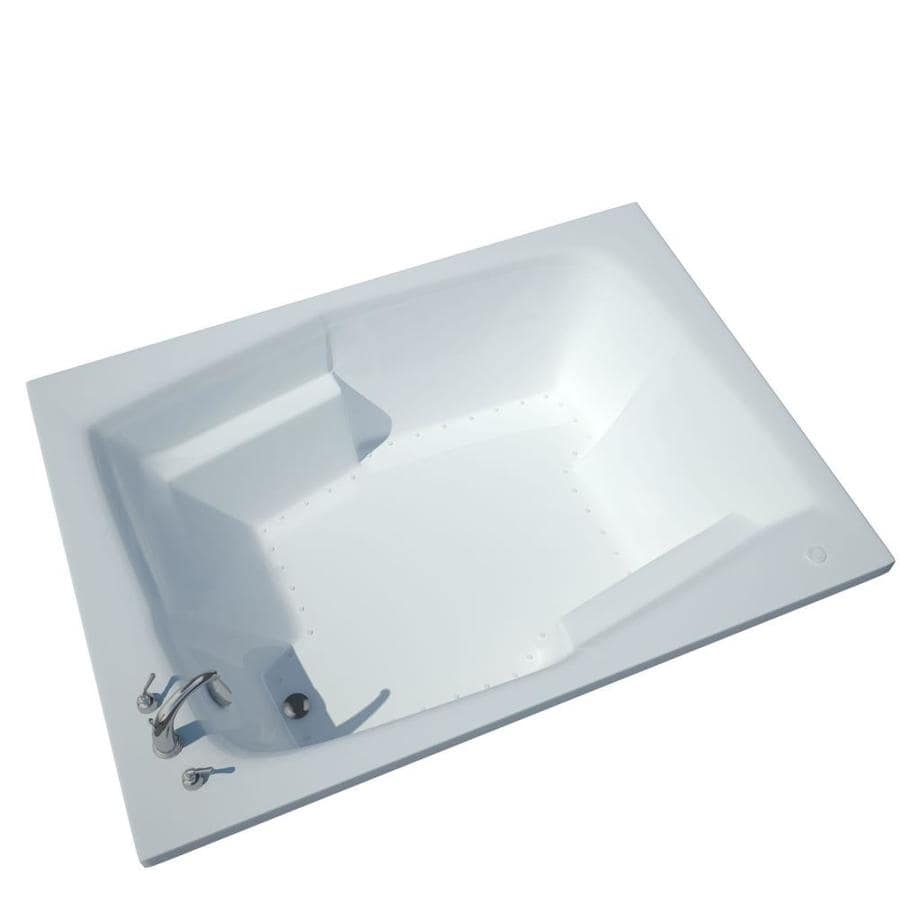 Endurance Egret 53.75-in L x 71.75-in W x 23-in H White Acrylic 2-Person Rectangular Drop-in Air Bath