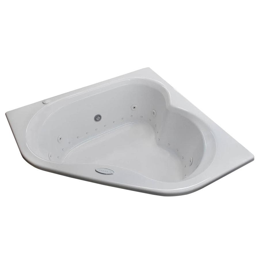 Endurance Dove 59.25-in L x 59.25-in W x 24.75-in H 2-Person White Acrylic Corner Drop-in Whirlpool Tub and Air Bath