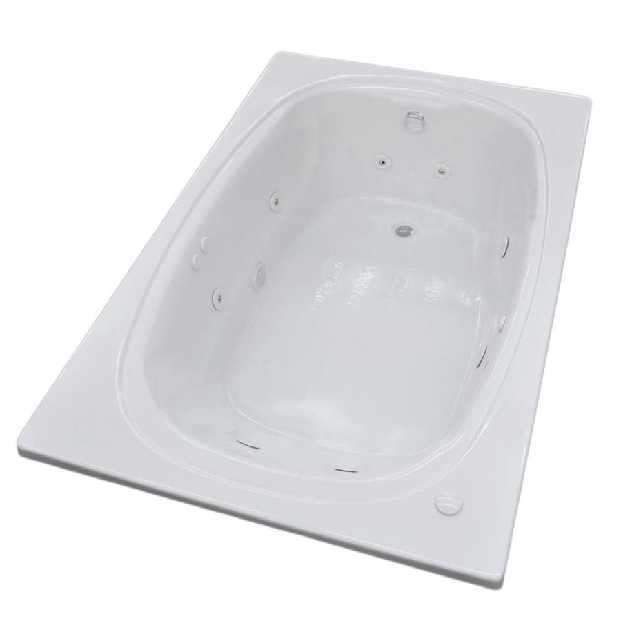 Endurance Budgie 2-Person White Acrylic Oval In Rectangle Whirlpool Tub (Common: 72-in x 42-in; Actual: 23-in x 47.7-in x 71.5-in)