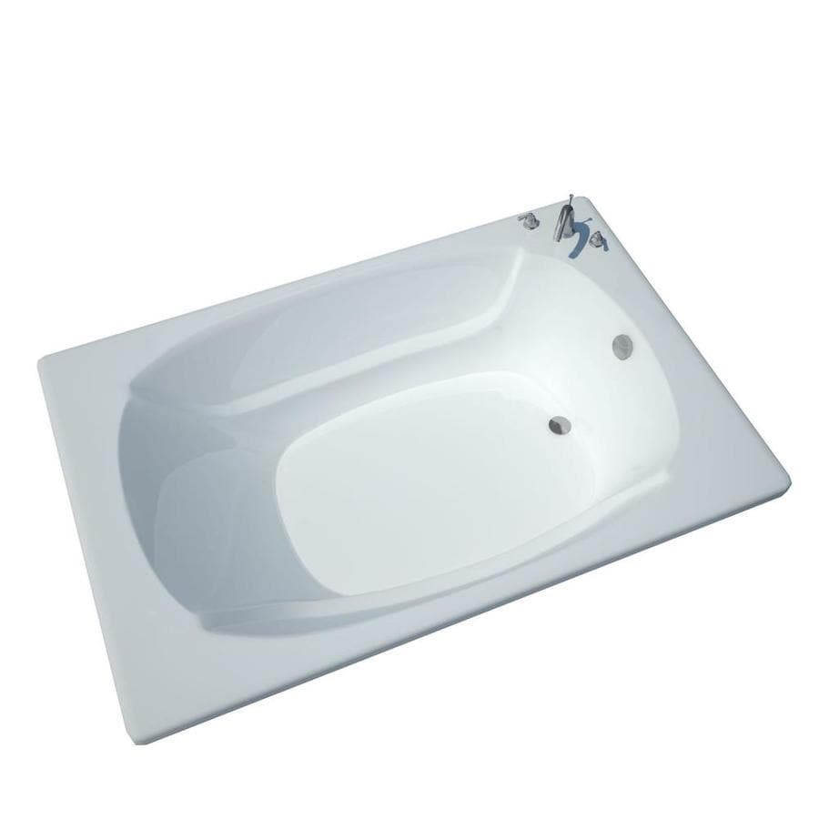 Endurance Budgie 77.9-in White Acrylic Drop-In Bathtub with Center Drain