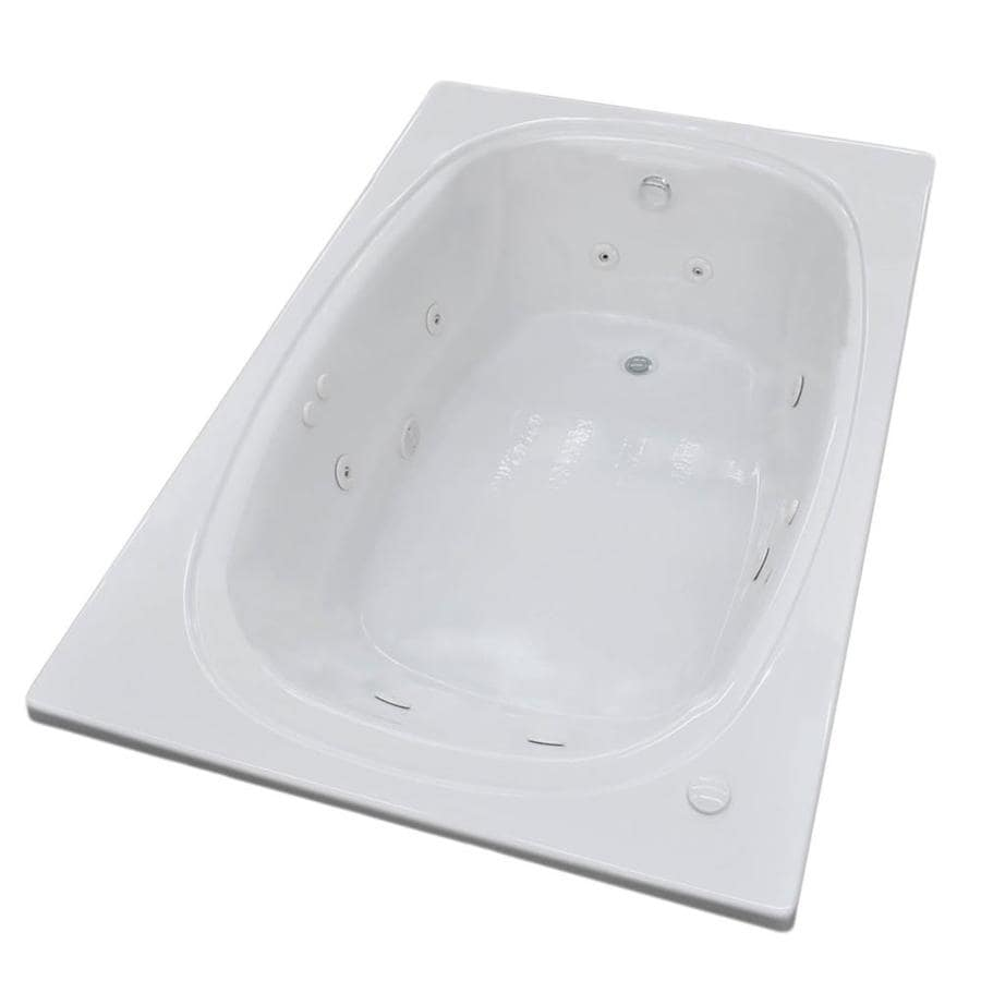 Endurance Budgie 77.9-in White Acrylic Drop-In Whirlpool Tub with Center Drain