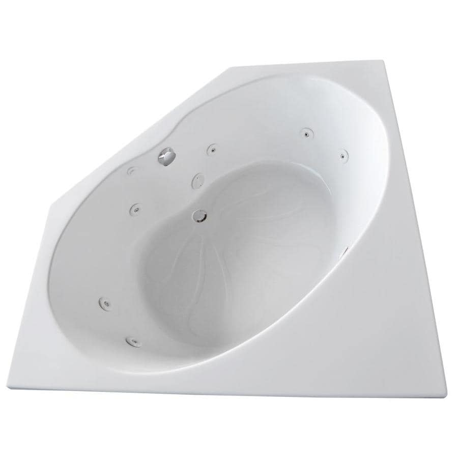 Endurance Swift 60-in White Acrylic Drop-In Whirlpool Tub with Center Drain