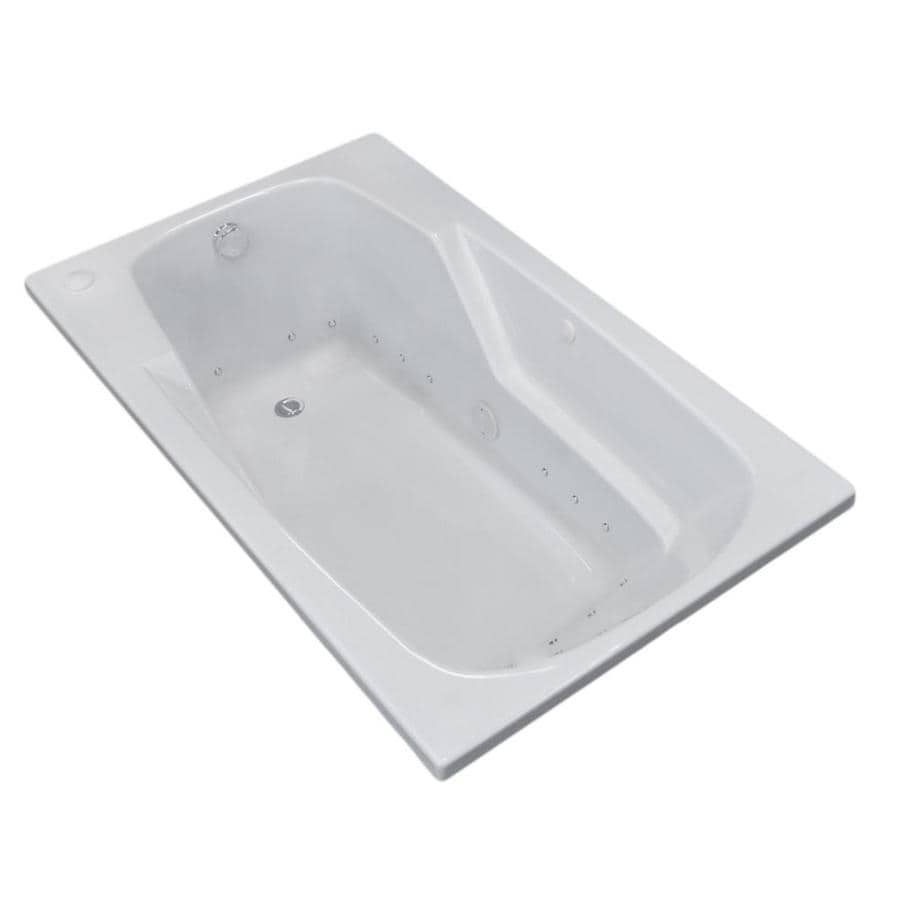 Endurance Falcon 59-in White Acrylic Drop-In Air Bath with Left-Hand Drain
