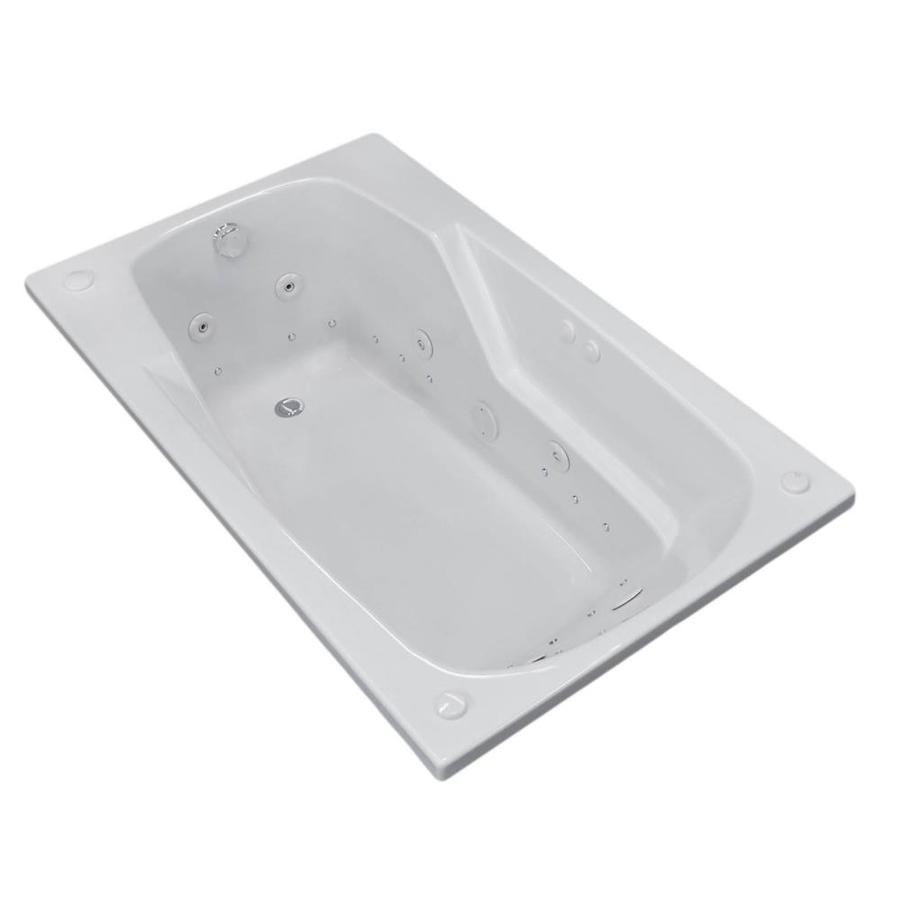 Endurance Falcon 59-in White Acrylic Drop-In Whirlpool Tub and Air Bath with Right-Hand Drain